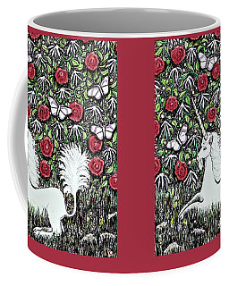 Unicorn With Red Roses And Butterflies Coffee Mug