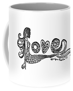 Coffee Mug featuring the drawing Mermaid Love by Monique Faella