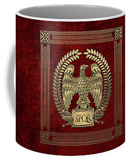 Roman Empire - Gold Imperial Eagle Over Red Velvet Coffee Mug