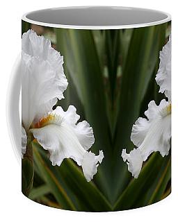 Frilly White Iris Flower Coffee Mug