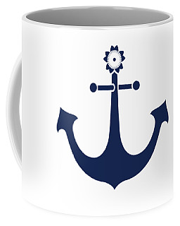Anchor With Knot Border In Blue Coffee Mug