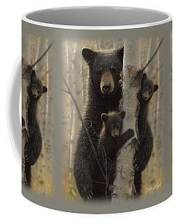 Black Bear Mother And Cubs - Mama Bear Coffee Mug