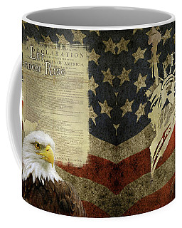 Vintage Americana Patriotic Flag Statue Of Liberty And Bald Eagle Coffee Mug