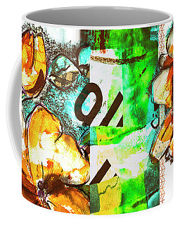 Coffee Mug featuring the mixed media Flowers On Paper,  Collage And Acrylic by Ariadna De Raadt