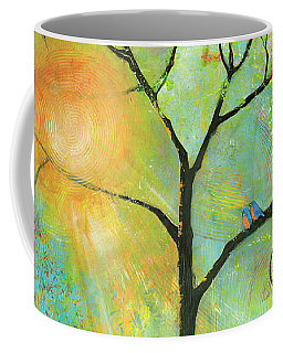 Hello Sunshine Tree Birds Sun Art Print Coffee Mug