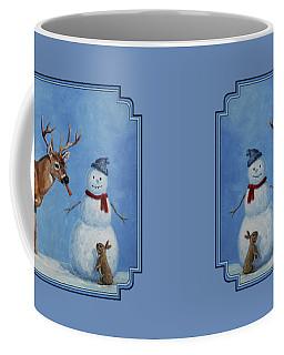 Whitetail Deer And Snowman - Whose Carrot? Coffee Mug