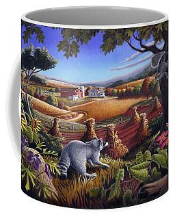 Rural Country Farm Life Landscape Folk Art Raccoon Squirrel Rustic Americana Scene  Coffee Mug