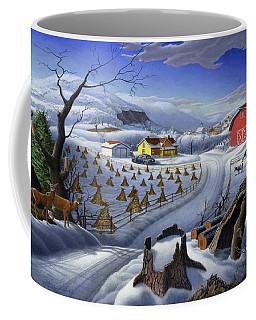 Folk Art Winter Landscape Coffee Mug