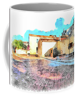 Arzachena Church Square Snow Madonna Coffee Mug