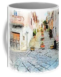 Arzachena View Staircase And Church Coffee Mug