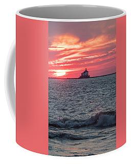Ashtabula Ohio Lighthouse At Sunset  Coffee Mug