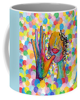 Asl Mother On A Bright Bubble Background Coffee Mug by Eloise Schneider