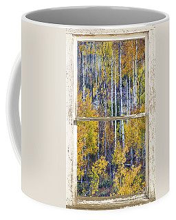 Aspen Tree Magic Cottonwood Pass White Farm House Window Art Coffee Mug