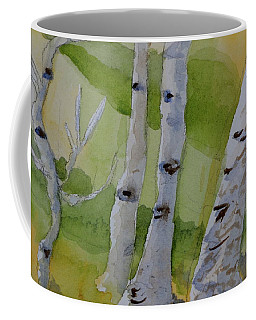 Coffee Mug featuring the painting Aspen Trunks by Beverley Harper Tinsley