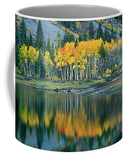 Coffee Mug featuring the photograph Aspens In Fall Color Along Lundy Lake Eastern Sierras California by Dave Welling