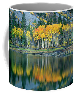 Aspens In Fall Color Along Lundy Lake Eastern Sierras California Coffee Mug by Dave Welling