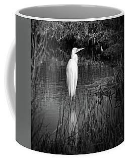 Assateague Island Great Egret Ardea Alba In Black And White Coffee Mug