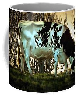 At The End Of The Day - Black And White Cow Coffee Mug by Janine Riley