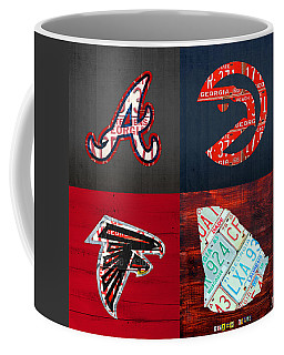 Atlanta Sports Fan Recycled Vintage Georgia License Plate Art Braves Hawks Falcons Plus State Map Coffee Mug