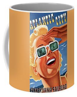 Atlantic City - Pennsylvania Railroad - Girl With Sunglasses - Retro Travel Poster - Vintage Poster Coffee Mug