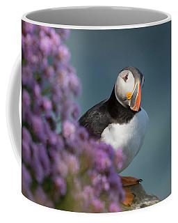 Coffee Mug featuring the photograph Atlantic Puffin - Scottish Highlands by Karen Van Der Zijden