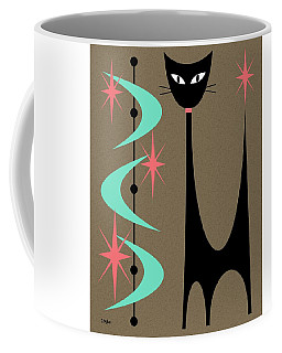 Coffee Mug featuring the digital art Atomic Cat Aqua And Pink by Donna Mibus
