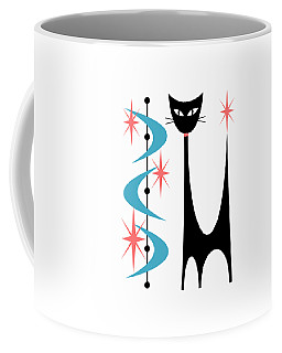 Coffee Mug featuring the digital art Atomic Cat Turquoise And Pink  by Donna Mibus