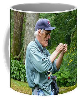 Coffee Mug featuring the photograph Attaching The Lure Up Close by Rosanne Licciardi