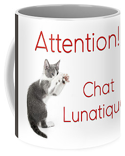 Coffee Mug featuring the photograph Attention Chat Lunatique by Endre Balogh