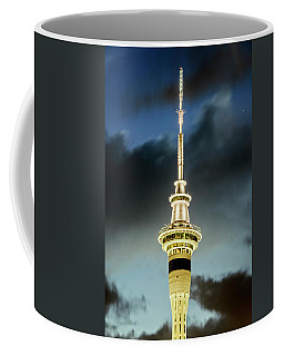 Coffee Mug featuring the photograph Auckland Sky Tower Night by Joan Carroll