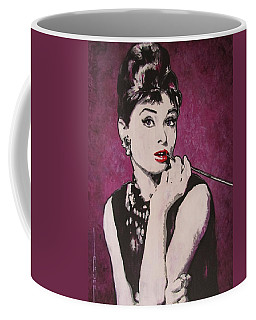 Coffee Mug featuring the painting Audrey Hepburn - Breakfast by Eric Dee