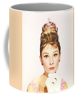 Coffee Mug featuring the photograph Audrey Hepburn Breakfast At Tiffanys  by R Muirhead Art