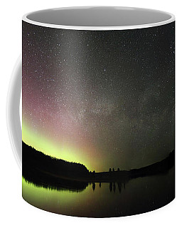 Aurora Borealis And Milky Way Over Yellowstone River Coffee Mug