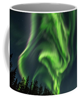 Aurora Borealis In Fairbanks Alaska Coffee Mug by Brenda Jacobs