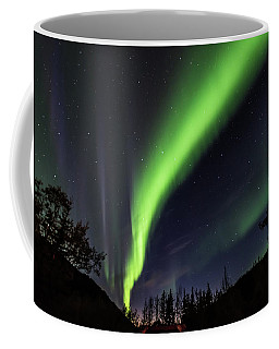 Aurora Borealis, Norther Lights In Denali National Park Coffee Mug by Brenda Jacobs