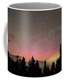 Aurora Borealis Over Mammoth Hot Springs In Yellowstone Np Coffee Mug