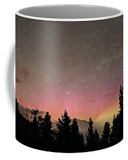 Aurora Borealis Over Mammoth Hot Springs In Yellowstone Np Coffee Mug