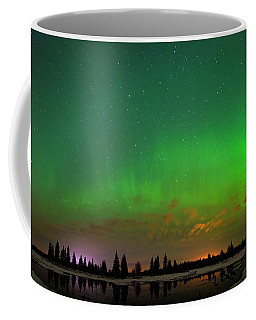 Aurora Over Pond Panorama Coffee Mug