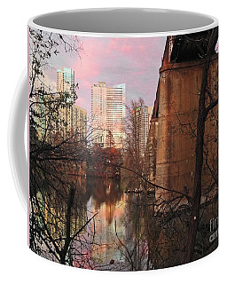 Austin Hike And Bike Trail - Train Trestle 1 Sunset Triptych Middle Coffee Mug