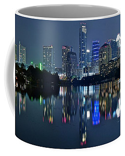 Austin Night Reflection Coffee Mug by Frozen in Time Fine Art Photography