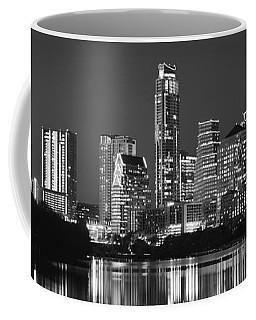 Austin Skyline At Night Black And White Bw Panorama Texas Coffee Mug