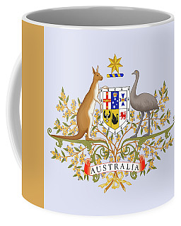 Coffee Mug featuring the drawing Australia Coat Of Arms by Movie Poster Prints