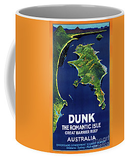 Coffee Mug featuring the mixed media Australia Dunk Restored Vintage Travel Poster by Carsten Reisinger