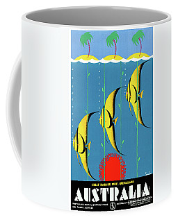 Coffee Mug featuring the mixed media Australia Restored Vintage Travel Poster by Carsten Reisinger