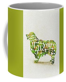 Coffee Mug featuring the painting Australian Shepherd Dog Watercolor Painting / Typographic Art by Ayse and Deniz