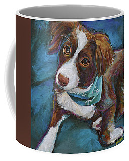 Coffee Mug featuring the painting Australian Shepherd Puppy by Robert Phelps
