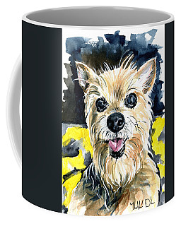Coffee Mug featuring the painting Australian Silky Terrier Dog Portrait by Dora Hathazi Mendes