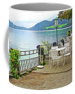 Coffee Mug featuring the photograph Austrian Cafe On The Lake by Kathy Kelly