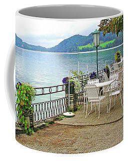 Austrian Cafe On The Lake Coffee Mug by Kathy Kelly