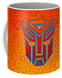 Coffee Mug featuring the digital art Autobot Cracked by Justin Moore
